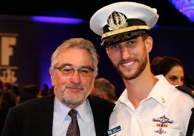 Robert DeNiro and Israeli Navy Capt. Nethanel Reicher (Photo Credit: Noam Chen).