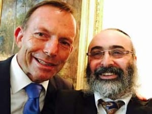 Prime Minister Tony Abbott with Rabbi Meir Shlomo Kluwgant