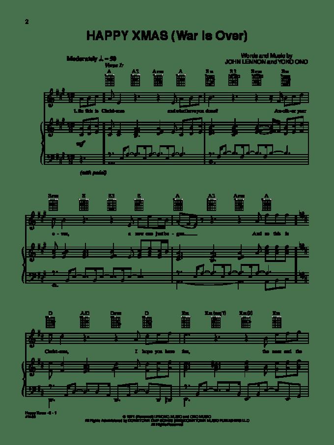 Happy Christmas John Lennon Piano Sheet Music | Christmaswalls.co