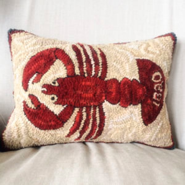 Maine Bicentennial 1820 Hand Hooked Lobster Pillow Coastal Style Rug Hooking