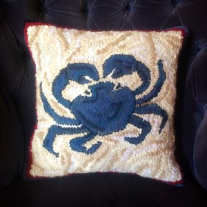 Blue Crab Hand Hooked Pillow