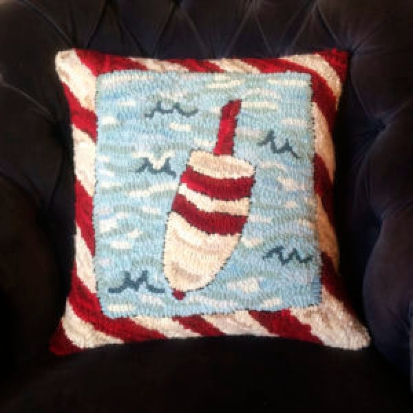 Hand Hooked Lobster Buoy Pillow