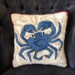 Blue Crab Hooked Pillow