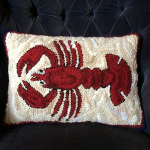 Lobster Hand Hooked Pillow
