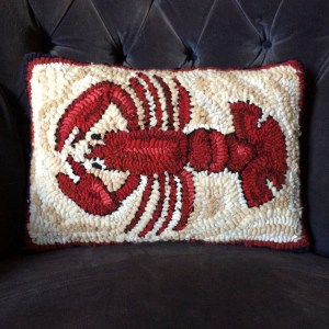 Small Lobster Hand Hooked Pillow