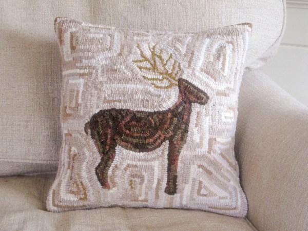 Reindeer Hooked Pillow