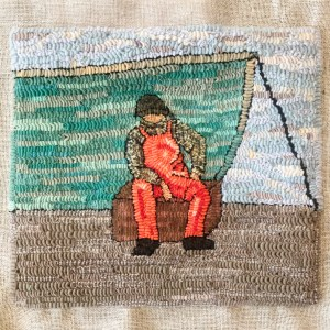 Lobsterman Hooked Rug