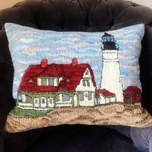 Cape Elizabeth Lighthouse Hooked Rug