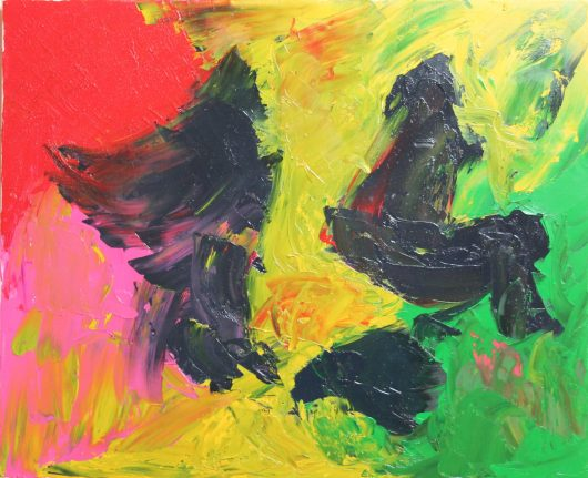 We can see on this painting some chickens or humans walkind in a desert, up to you!