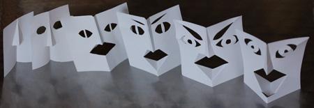six têtes en papier découpé (format 9x9cm chaque tête)