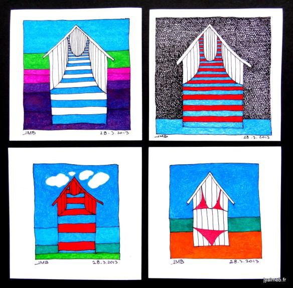Quatre cabines de plage