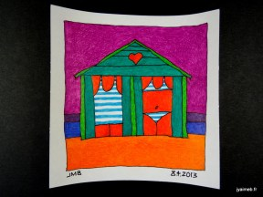 cabine de bain cœur orange