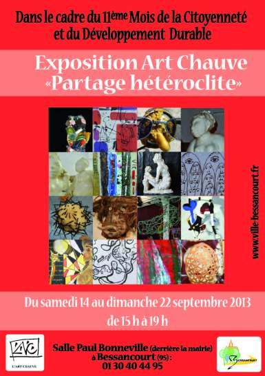 """affiche exposition art chauve """"partage hétéroclite"""""""
