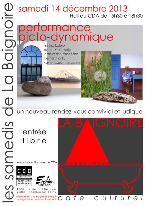 affiche de la performance picto-dynamique le 14 décembre 2013 à Enghien dans le hall du Centre des Arts