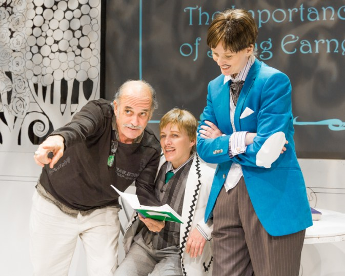 Director Robert McNamara, Nanna Ingvarsson, and Danielle Davy on set of Scena Theatre's 'The Importance of Being Earnest'.