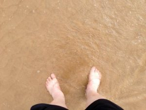 Soothed feet on Lossiemouth Beach