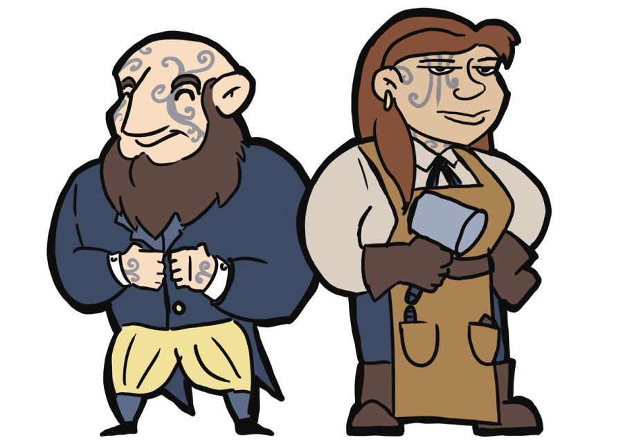 Drawing of a Dwerrow man and woman