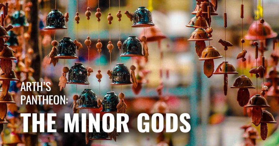 An image of wind chimes and figurines that look like minor powers dancing around celestial bodies.