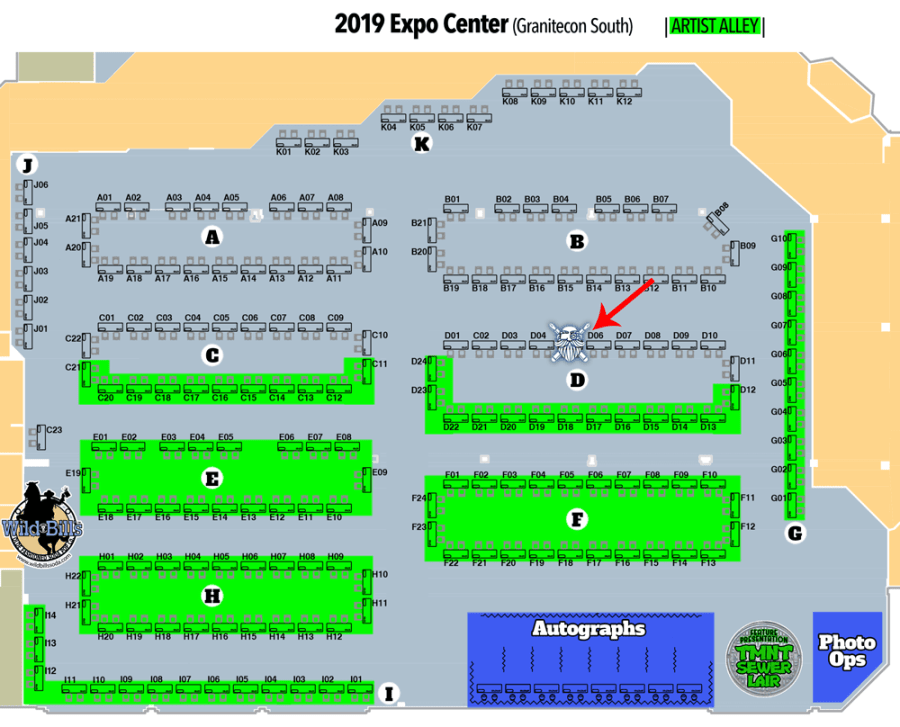 A map of GraniteCon with table d5 marked as Gnomish Press