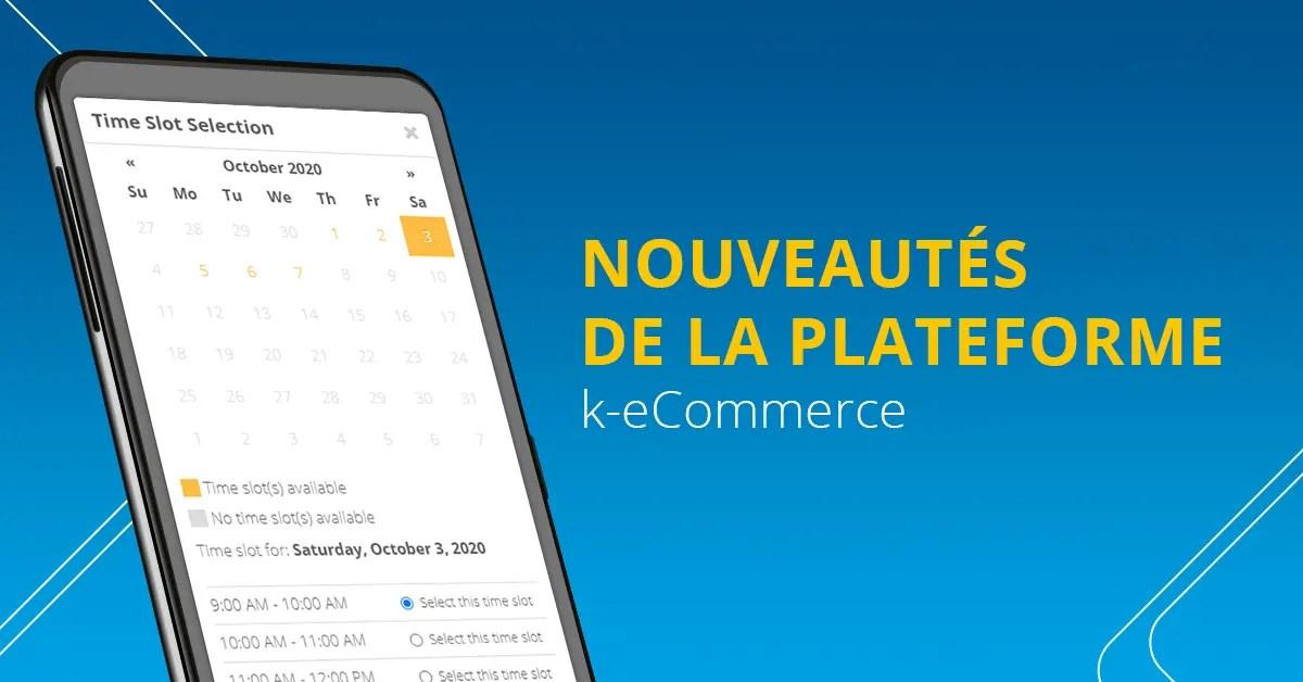 Nouveautés de la plateforme k-eCommerce