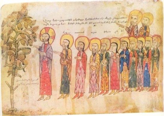 Проклятие смоковницы. Миниатюра Овсиана из Евангелия,  1306 год. Армения