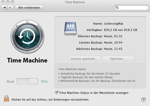 Time Machine mit NAS