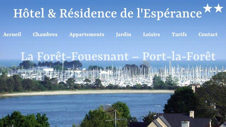 site web responsive de l'hôtel de l'espérance
