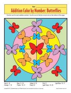 addition color by number butterflies math worksheets
