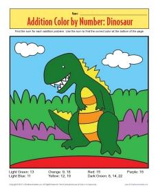 addition color by number dinosaur math worksheets