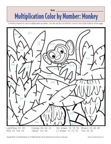 multiplication color by number monkey printable math worksheets