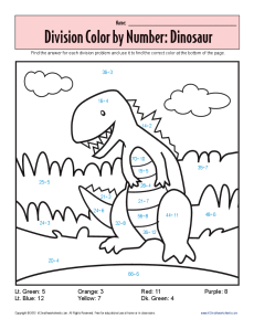 color by number dinosaur printable division worksheets