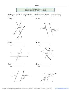 Printables Parallel Lines Cut By A Transversal Worksheet parallel lines cut by transversal worksheet versaldobip davezan