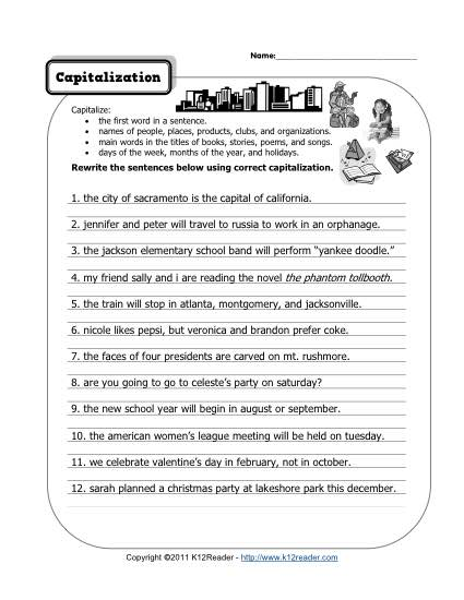 Capitalization Free Printable Punctuation Worksheets