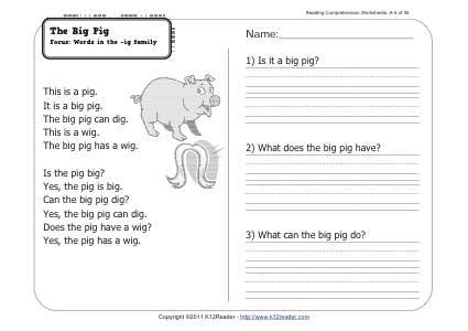 The Big Pig 1st Grade Reading Comprehension Worksheet Week 6