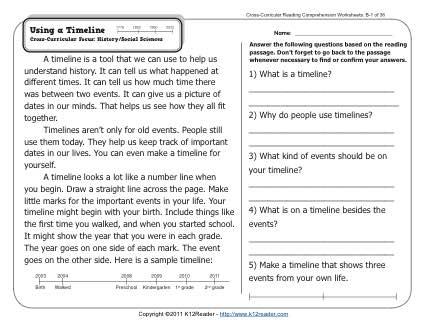 Using A Timeline 2nd Grade Reading Comprehension Worksheets