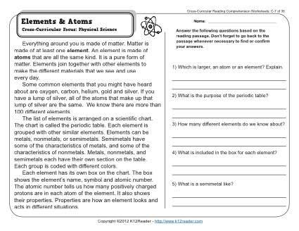 Elements And Atoms 3rd Grade Reading Comprehension Worksheet