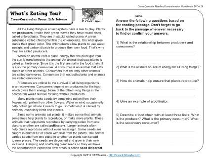 What S Eating You 4th Grade Reading Comprehension Worksheet