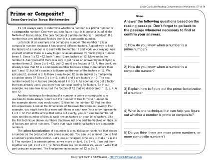Prime Or Composite 5th Grade Reading Comprehension Worksheet