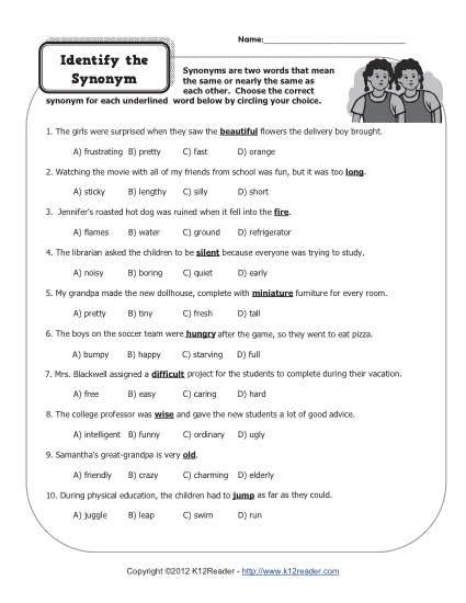 Identify The Synonym
