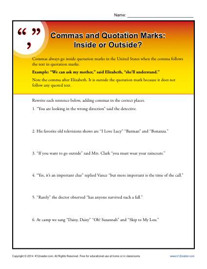 Commas And Quotation Marks Inside Or Outside