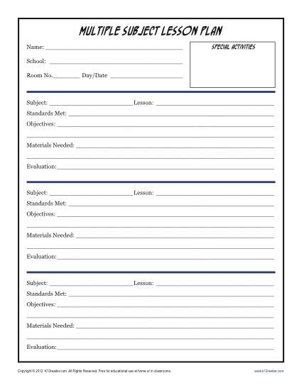 Daily Multi Subject Lesson Plan Template Elementary