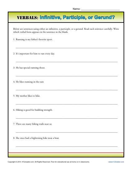 Verbals Infinitive Participle Or Gerund