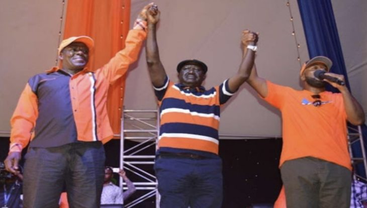 From left to right: Kakamega Governor Wycliffe Oparanya, former Prime Minister Raila Odinga and Mombasa Governor Ali Joho. [PHOTO | FILE]