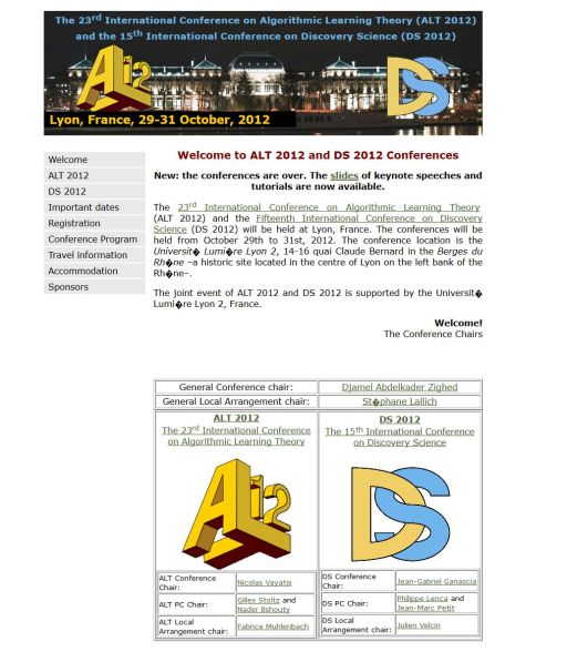 23rd International Conference on Algorithmic Learning Theory