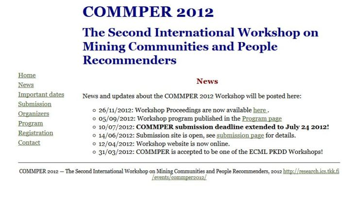 The Second International Workshop on Mining Communities and People Recommenders