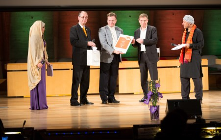 Marko Grobelnik, K4A trustee taking the WSIS+10 Global champions awards for VideoLectures.Net @ , UNESCO Paris