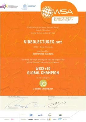 UNESCO Award for VideoLectures.Net, 2013