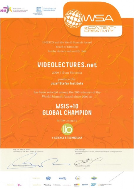 UNESCO Award for VideoLectures.Net, 2013