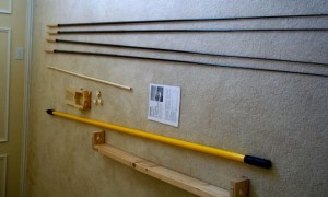 Moxon fishing poles and mast, 2x4 assembly holds it up!