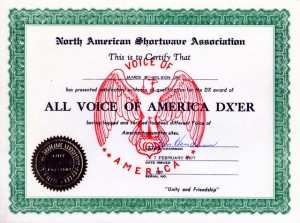 All VOA Transmitter Certificate